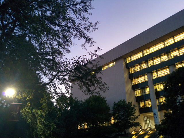 Alkek Library at dusk.
